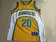 Mens Nba Seattle Supersonics #20 Payton Yellow Adidas Mesh Jersey