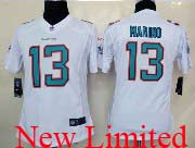 Women  Nfl Miami Dolphins #13 Marino White (2013 New) Limited Jersey