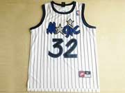 Mens Nba Orlando Magic #32 O'neal White Stripe Swingman Mesh Jersey