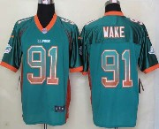 Mens Nfl Miami Dolphins #91 Wake Drift Fashion Green Elite Jersey