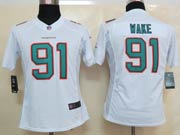 Women  Nfl Miami Dolphins #91 Wake White (2013 New) Limited Jersey