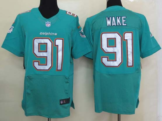 Mens Nfl Miami Dolphins #91 Wake Green (2013 New) Elite Jersey