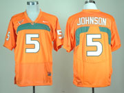 Mens Ncaa Nfl Miami Hurricanes #5 Johmson Orange Jersey Gz
