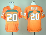 Mens Ncaa Nfl Miami Hurricanes #20 Reed Orange Jersey Gz