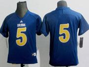 Youth Ncaa Nfl Notre Dame Fighting Irish #5 Menti Teo Navy Blue (adidas) Jersey Gz