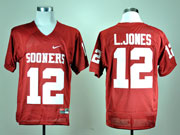 Mens Ncaa Nfl Oklahoma Sooners #12 L.jones Red Elite Jersey Gz