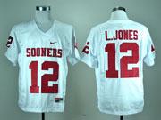 Mens Ncaa Nfl Oklahoma Sooners #12 L.jones White Elite Jersey Gz