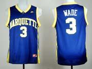 Mens Ncaa Nba Marquette Golden Eagle #3 Dwyne Wade Blue Jersey Gz
