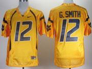 Mens Ncaa Nfl Virginia Mountaineers #12 G.smith Yellow Jersey Gz