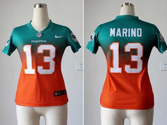 Women  Nfl Miami Dolphins #13 Marino Green&orange Drift Fashion Ii Elite Jersey