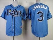 Mens mlb tampa bay rays #3 longoria light blue Jersey
