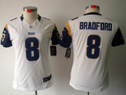 Women  Nfl St.louis Rams #8 Bradford White Limited Jersey