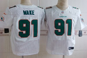 Mens Nfl Miami Dolphins #91 Wake White (2013 New) Elite Jersey