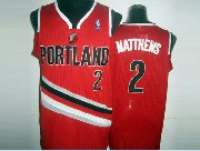 Mens Nba Portland Trail Blazers #2 Matthews Red (v-neck Portland) Jersesy