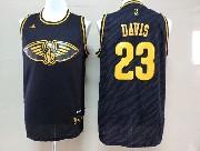 Mens Nba New Orleans Hornets #23 Davis Dark Blue Precious Metals Fashion Swingman Jersey