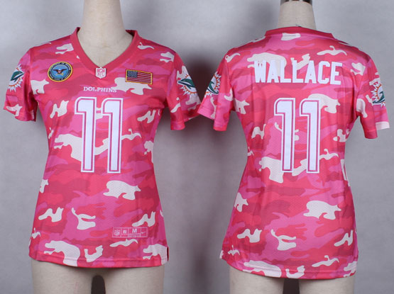 Women  Nfl Miami Dolphins #11 Wallace Pink Camo Game Jersey