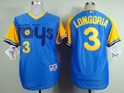 Mens mlb tampa bay rays #3 longorla light blue (back 1988 version) Jersey