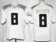 Mens Ncaa Nfl Oregon Ducks #8 Mariota White (black Number) Jersey