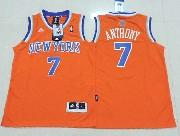 youth nba New York Knicks #7 Carmelo Anthony orange jersey