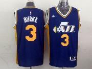 Mens Nba Utah Jazz #3 Burke Purple Revolution 30 Jersey (p)