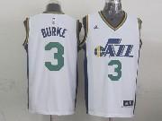 Mens Nba Utah Jazz #3 Burke White Revolution 30 Jersey (p)