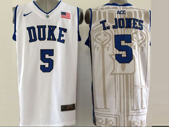 Mens Ncaa Nba Duke Blue Devils #5 T.jonesw White (v Neck) Jersey