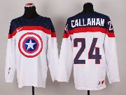 Mens nhl captain america #24 callahan white Jersey