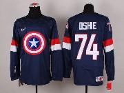 Mens nhl captain america #74 oshie blue Jersey