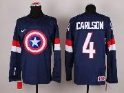 Mens nhl captain america #4 carlson blue Jersey