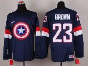 Mens nhl captain america #23 brdwn blue Jersey