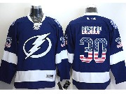 Mens Reebok Nhl Tampa Bay Lightning #30 Bishop Blue (usa Flag Fashion) Jersey