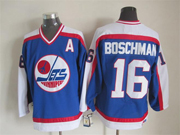 Mens Nhl Winnipeg Jets #16 Boschman Blue Throwbacks(white Shoulder)jersey With A Patch Dt (sn)