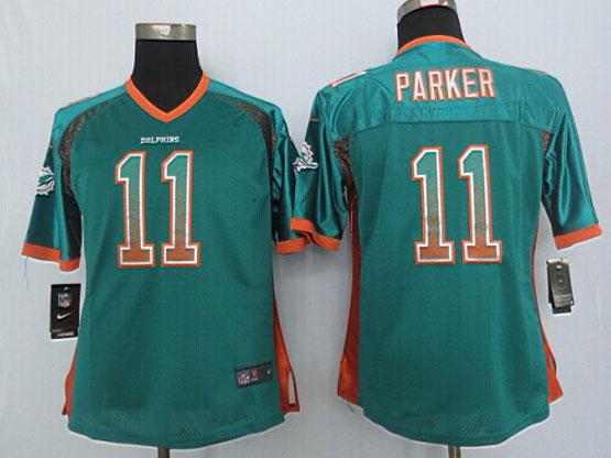 Women  Nfl Miami Dolphins #11 Parker Drift Fashion Green Elite Jersey
