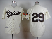 Mens Mlb St.louis Browns #29 Paige Cream 1953 Throwbacks Jersey(no Name)