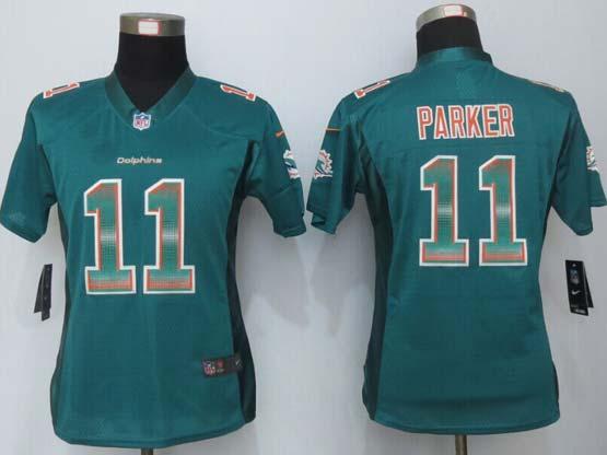 Women  New   Miami Dolphins #11 Parker Green Strobe Elite Jersey