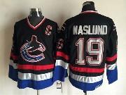Mens nhl vancouver canucks #19 naslund black throwbacks Jersey