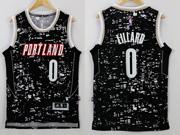 Mens Nba Portland Trail Blazers #0 Lillard Black Luminous Version Jersey