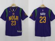 Mens Nba Charlotte Hornets #23 Davis Purple 2016 Short Sleeves Jersey