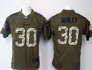 Mens   Los Angeles Rams #30 Todd Gurley Green Salute To Service Limited Jersey