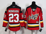 Youth Reebok Nhl Calgary Flames #23 Monahan Red 2015 New Jersey