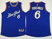 Mens Nba New York Knicks #6 Porzingis Blue Christmas Day Jersey