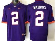 Mens Ncaa Nfl Clemson Tigers #2 Watkins Purple Limited Jersey
