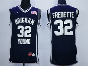 Mens Ncaa Nba Brigham Young #32 Fredette Dark Blue Jersey