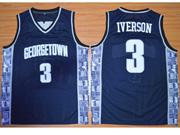 Mens Ncaa Nfl Georgetown Hoyas #3 Iverson Blue Jersey