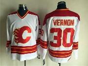 Mens nhl calgary flames #30 vernon white throwbacks Jersey