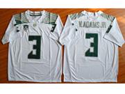 Mens Ncaa Nfl Oregon Ducks #3 V.adams Jr White (green Number) Jersey