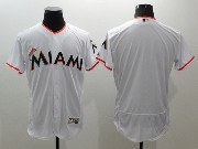 mens majestic miami marlins blank white Flex Base jersey