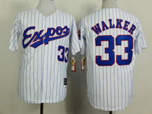 Mens Mlb Montreal Expos #33 Walker White (blue Stripe) 1982 Throwbacks Jersey