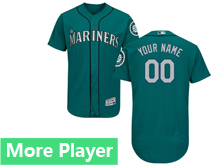 Mens Majestic Seattle Mariners Green Flex Base Current Player Jersey