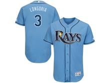 mens majestic tampa bay rays #3 evan longoria light blue Flex Base jersey
